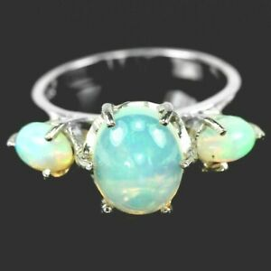 AWESOME FIRE OPALS TRIO  STERLING RING M1/2