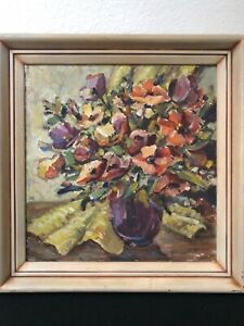 🔥 Antique California Plein Air Impressionist Still Life Oil Painting - Emerson