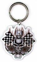 "Artist FTS - Racing Skull - High Quality Die-Cut Metal KEYCHAIN Keyring 2.25""x2"""