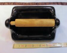 Black Ceramic Toilet Paper Holder, surface mount with hardware, Perfect Mint !