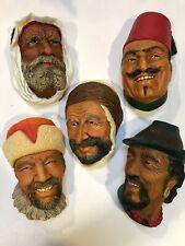 Bossons Congleton England Chalkware Face Set of 5 Masks