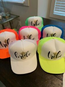 Bachelorette Party Hats, fluorescent wedding trucker caps (1 Bride & 10 Tribe)