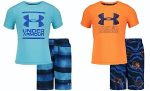 New Under Armour Little Boys Rash Guard & Swim Trunks Set Choose Size & Color