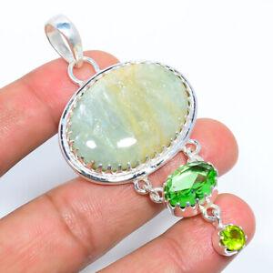 "Aquamarine - Brazil & Peridot  925 Sterling Silver Jewelry Pendant 3.00"" T2740"