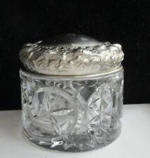 Antique Victorian Floral Repousse Silver Plate Cut Glass Powder Jar