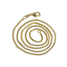 Fashion New 1.4mm  20 inches 18K Gold Plated Box Chain Necklace Woman Man Gift