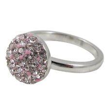 Light Pink Crystals Shamballa Inspired Sterling Silver Ring (5)