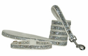 """white and silver  sparkle small breed dog puppy  collar and  lead  2 sizes 1/2"""""""