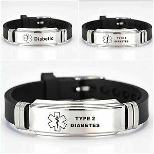 Diabetes Diabetic Type 1 2 Medical Alert Bracelet Stainless Steel Adjustable