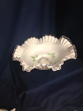 Fenton Bowl White With Painted Flowers