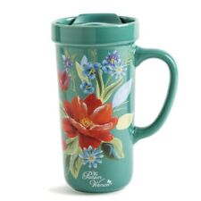 The Pioneer Woman Ceramic Teal Floral Trave Mug with Lid