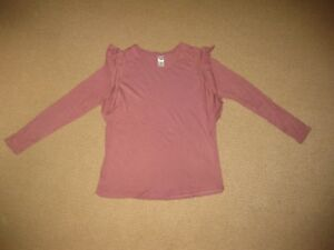 Ladies Dusty Pink Frilled Long Sleeve Top Size 12