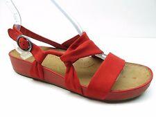 Naya Brittany Red Nubuck Leather Platform Ankle Strap Sandal Pump 8.5M New $130.