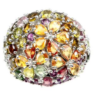 Pear Sapphire Multi-Color Tourmaline Gems 925 Sterling Silver Ring Size 8