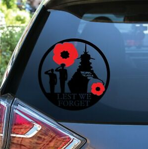 2 x Lest We Forget Help Heroes Charity Navy Ship Vinyl Decal Bumper Car Stickers