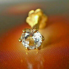 0.15CT Round Cut Diamond Flower Nose Piercing Stud Pin Ring 9ct Yellow Gold Over