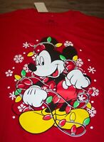 Walt Disney MICKEY MOUSE IN SANTA HAT CHRISTMAS LIGHTS T-Shirt XL NEW w/ TAG