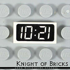Lego Minifigure WHITE Clock Digital Pattern - '12:01' or '10:21' Tile 1x2