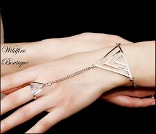 Chic Geometric Triangles & Chain Ring Bracelet Hand Harness Slave Bracelet