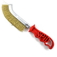 SPID BRASS PLATED STEEL WIRE SCRATCH BRUSH RED HANDLE RUST REMOVAL METAL PREP