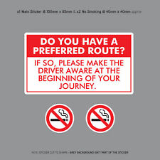 Have a Preferred Route Sticker Taxi Minicab Driver Car Sign Notice - SKU3122