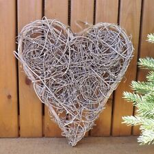 Rustic Nordic Rattan Grey Washed Wooden Twig Swirl Love Heart Plaque Wall Decor
