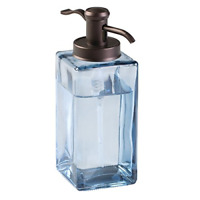 mDesign Decorative Square Glass Refillable Liquid Soap Dispenser Pump Bottle for
