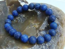 Men's Elastic Bracelet all 10mm LAPIS LAZULI gemstone natural beads matt frosted
