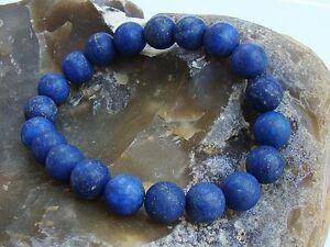 Men's Elastic Bracelet all 10mm LAPIS LAZULI gemstone natural beads matt frosted