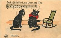 Arts Crafts Black Cats 1907 Music Humor undivided postcard 3481