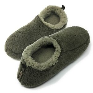 Men's Slippers Sherpa Cozy Fuzzy Fluffy Indoor Anti-Skid House Shoes 9-12 (Olive