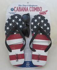 Men's WEMBLEY XL Red White Blue Stars Stripes Flip Flops with FREE Sunglasses