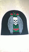 bonnet tête de mort ailes et roses, biker, moto, harley, chopper, triker, lady