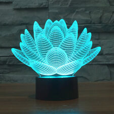 Optical Illusion 3D Lotos Flower 7 Color LED Night Light Table Desk Touch Lamp