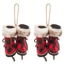 Buffalo Check Ice Skate Ornaments Red Black Ornaments Christmas Ornaments