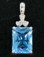 10k Oro Blanco 4.06ctw Rectangular Corte Princesa Topacio Azul & 3