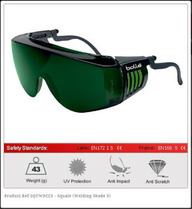Bolle Safety Glasses SQUALE Welding Shade 5 Fit over Prescription Spectacles