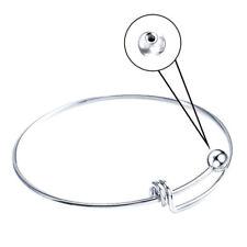 5PCS- 2.5inch WireBlankCuff Silver BangleBraceletKid GirlWomen Jewelry --K