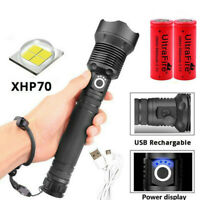 XHP70 900000Lumens Zoomable LED USB Rechargeable Flashlight Torch Powerful Ligh-