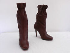 COLE HAAN Nike Air Womens 6.5 Brown Gathered Top Pull On High Heel Boots Shoes