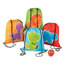 DINOSAUR PARTY Little Dino Colourful Drawstring Backpack Kit Play Bag Pack x One