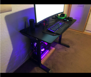 Gaming desk adjustable black colored led