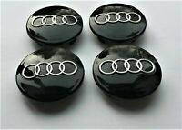 4 Pcs 60mm AUDI Black  Wheel Center Caps Emblem Badge Hub Rim Caps 4B0601170