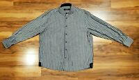 Coogi Luxe Mens Black White Button Down Size 2XL Embroidered Long Sleeve Shirt