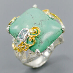 Turquoise Ring Silver 925 Sterling Handmade jewelry gemstone Size 8.5 /R146921