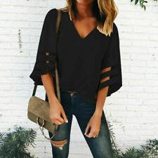 Summer Women 3/4 Bell Sleeve V Neck Chiffon Loose Shirt Tops Blouse Size S-5XL