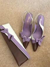 Ladies Beverly Feldman Size 4 Leather White/brown/lilac Shoes New With Bag