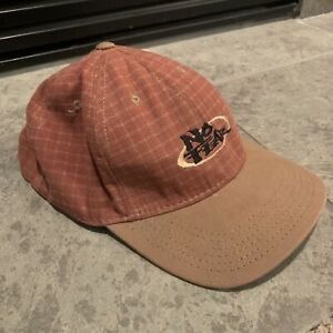 Vintage 90s No Fear Hat Made In USA Plaid Checkered Tan Red Snapback Cotton Cap