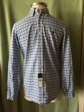 "Mens Ralph Lauren Blues White Plaid LS Classic Shirt NWT $89.50 S 33 1/2"" SL"