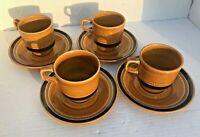 Vintage Set (4) 1970 Fuji-Stone #2076 Tahiti Coffee Cups/Mugs & Saucer Complete